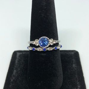 Jewelry - Round Sapphire Silver 2pc Ring Set Size 9